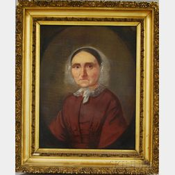 American School, 19th Century.      Portrait of a Woman, Possibly Mrs. William Sanborn of Falmouth, Maine.