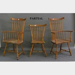Set of Eight Windsor Carved Ash, Oak, and Maple Fan-back Chairs