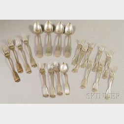 Group of Approximately Twenty Coin Silver Spoons and Forks