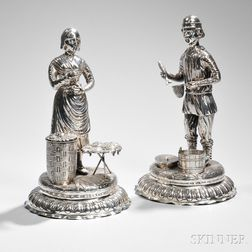 Pair of German Silver Figural Table Ornaments