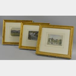 Edward Clarke Cabot (American, 1818-1901)      Three Framed Watercolors: Isis below Oxford ,  Andover from the Intervale