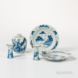 Five Blue and White Ceramic Items
