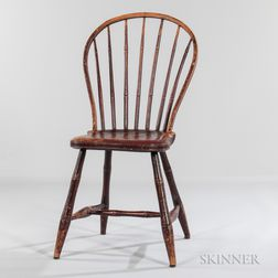 Red-painted Bow-back Windsor Side Chair