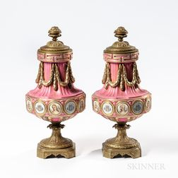 Pair of Sevres-style Porcelain Bronze-mounted Portrait Vases and Covers