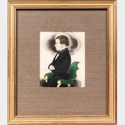 James Sanford Ellsworth (American, 1802/03-1874)      Miniature Portrait of a Young Man