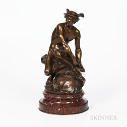 After Jean-Baptiste Pigalle (French, 1714-1785)       Bronze Depiction of Mercury Affixing His Sandals