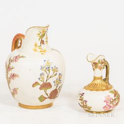 Two Royal Worcester Porcelain Pitchers