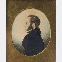 American School, 19th Century    Miniature Portrait of Shipmaster John Porter Page.