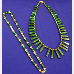Two Contemporary Malachite and Gold Bead Necklaces.