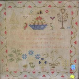 Birds-eye Maple Framed 1854 Mary Ann Witt Needlepoint Sampler.