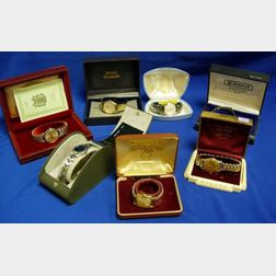 Six Men's Wristwatches and One Woman's Movado Wristwatch