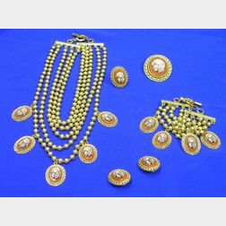 Jean Paul Gaultier Skull and Roses Cameo Costume Jewelry Suite