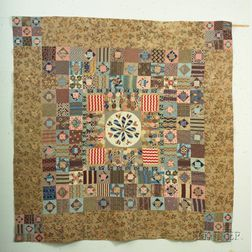 Pieced Printed Cotton and Chintz Patchwork Dewindt Quilt
