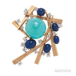 18kt Gold, Turquoise, Lapis, and Diamond Brooch, Marianne Ostier