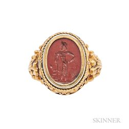 Antique Gold and Jasper Intaglio Ring