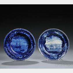Two Historical Blue and White Staffordshire Pottery Plates