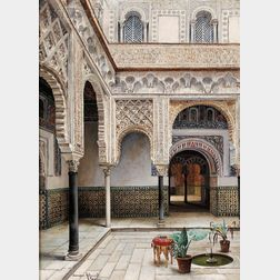 Enrique Roldan (Spanish, 19th Century)      Courtyard, The Alcázar, Seville