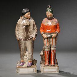 Pair of Royal Copenhagen Porcelain Greenland Figures