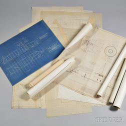 Large Lot of Hand-drawn Boat and Ship Designs and Printed Blueprints