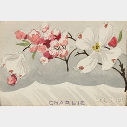 Charles Ephraim Burchfield (American, 1893-1967)      Three Watercolors on Paper: Apple Blossoms ,  Abstract Composition