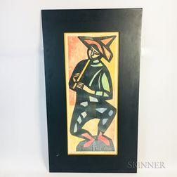 Framed Irving Amen (American, 1918-2011) Woodcut Flute Player