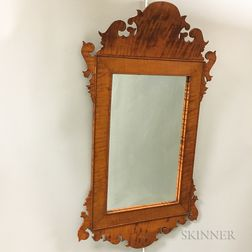 Chippendale-style Tiger Maple Scroll-frame Mirror