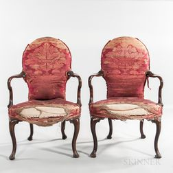 Pair of George II Upholstered Mahogany Open Armchairs