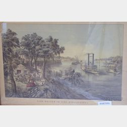 "Two Framed Currier & Ives Large Folio Hand-colored Lithographs,      ""High Water"" in the Mississippi,"