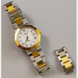 "Two-tone 18kt Gold and Stainless Steel Baume & Mercier ""Riviera"" Lady's Wristwatch"