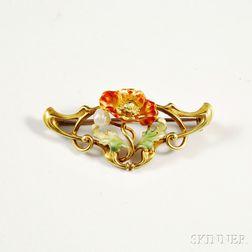 Art Nouveau 14kt Gold, Pearl, and Enamel Brooch