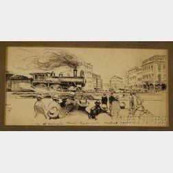 "Haydon Jones Pen and Ink on Paper Illustration Depicting ""The Washington Through   Lynn, Portland Express,"""