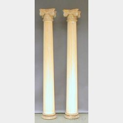 Pair of Decorative Painted Gesso and Wood Ionic Fluted Columns