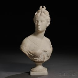 After Jean-Antoine Houdon (French, 1741-1828)       Marble Bust of Diana