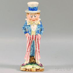 Majolica Palmer Cox Brownie Uncle Sam Candlestick