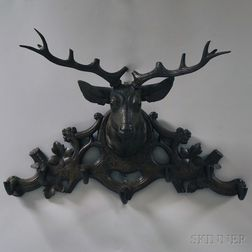 Black Forest Stag Carved Wood Hat Rack