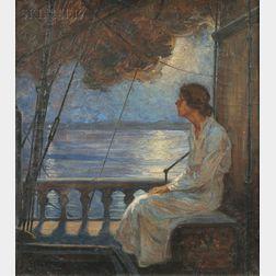 Robert Lynn Lambdin (American, 1886-1981)    Woman in Moonlight on a Ship's Deck