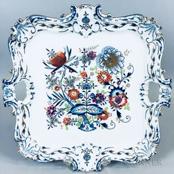 Meissen Gilt Blue Onion Porcelain Tray
