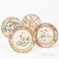 Four Enameled Export Plates