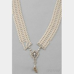 Edwardian Platinum, Seed Pearl, and Diamond Sautoir