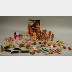 Thirty-three Vintage Celluloid Doll Figures, Twenty-two Toy Brushes, Hand Mirrors, and Novelty Items, Celluloid Collectors Referenc...