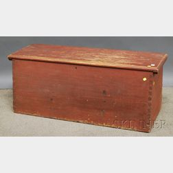 Red-painted Pine Dovetail-constructed Sea Chest with Canted Front and Rear Panels