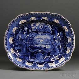 """Historical Blue Transfer-decorated Staffordshire Pottery """"States"""" Platter"""