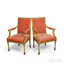 Pair of Louis XVI-style Carved, Painted, and Upholstered Fauteuil