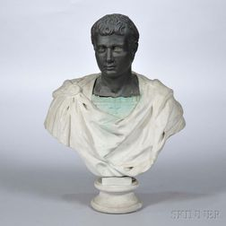 Iron and Cement Bust of a Roman