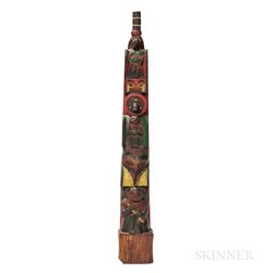 Northwest Coast Polychrome Wooden Model Totem Pole