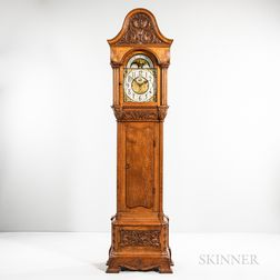 Carved Oak Quarter-chiming Hall Clock