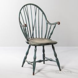 Blue-painted Applied-arm Braced Bow-back Windsor Chair