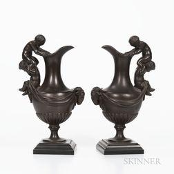 Pair of Maison Alphonse Giroux Bronze Figural Ewers
