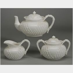LotusWare White Glazed Porcelain Three Piece Teaset