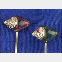 Pair of Diamond and Gem-set Stickpins
